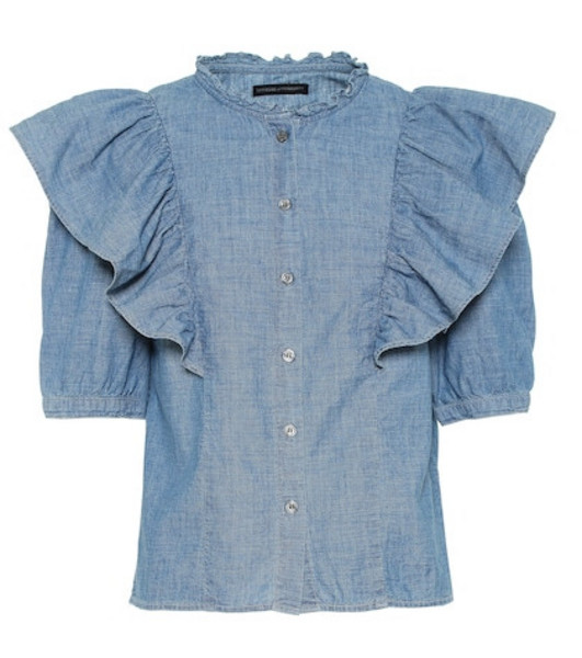 Citizens of Humanity Jolene cotton-chambray blouse in blue