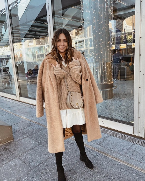 coat teddy bear coat black boots knee high boots tights white dress oversized sweater crossbody bag