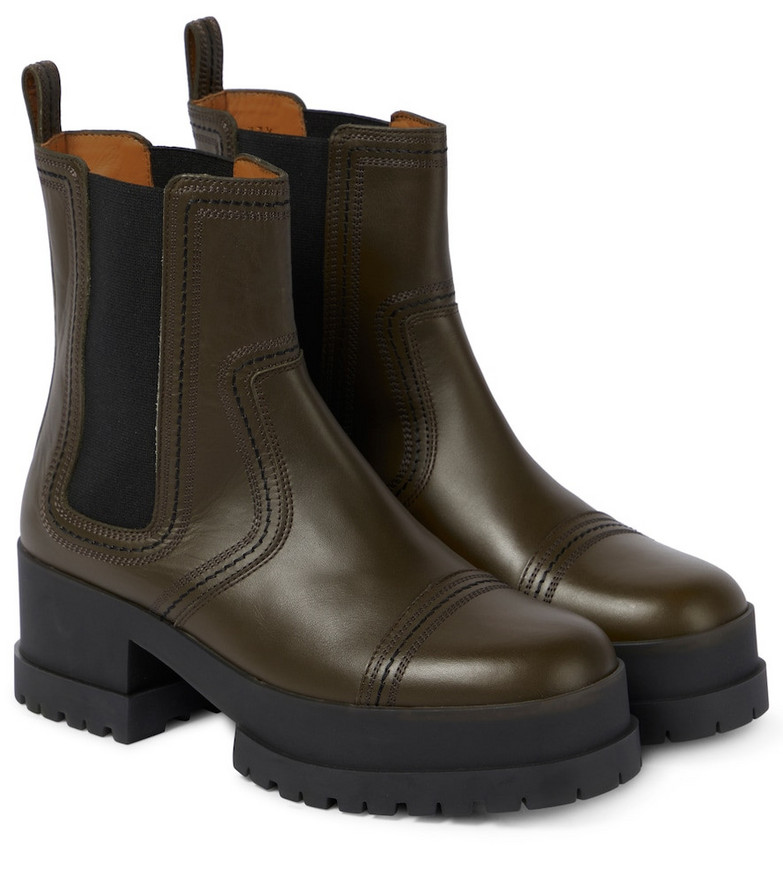 Clergerie Wafa leather Chelsea boots in green
