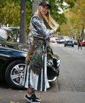 dress,midi dress,sequins,sneakers,camouflage,jacket,cap