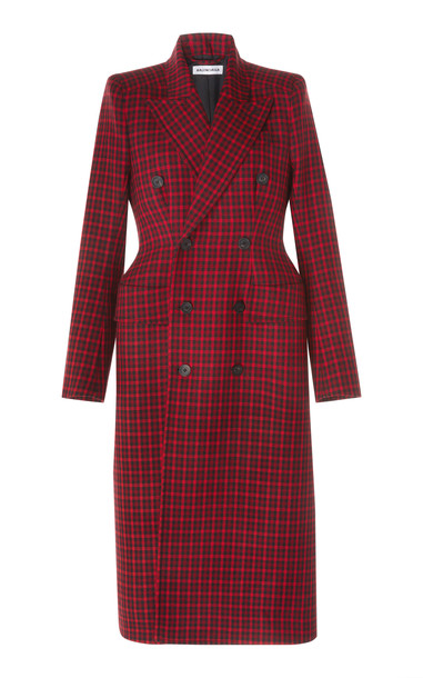 Balenciaga Houndstooth Double-Breasted Wool Coat