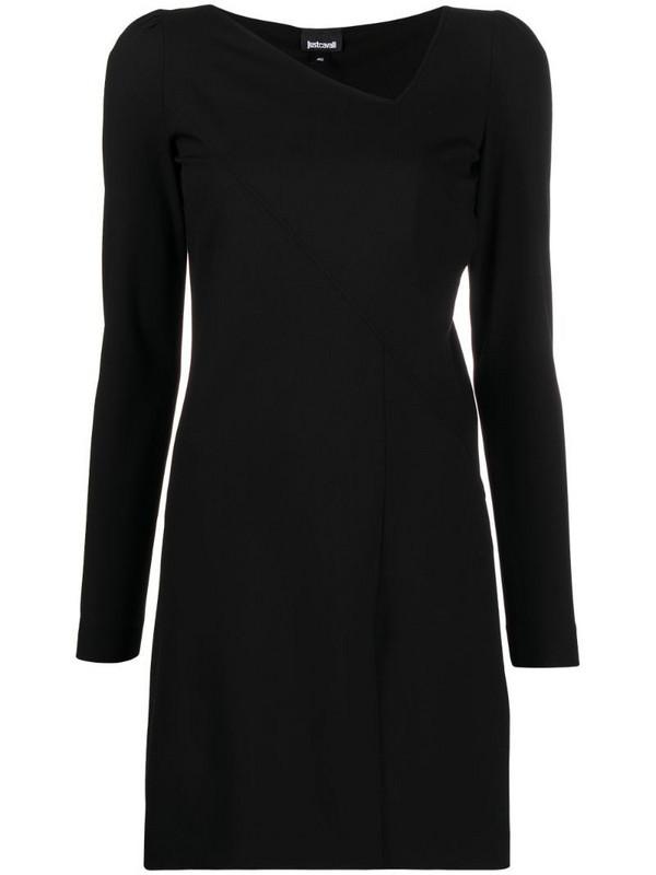 Just Cavalli logo-tape mini dress in black