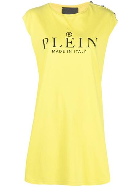 Philipp Plein Iconic Plein T-shirt dress in yellow
