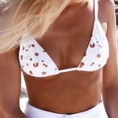 bikini top,white bikini top,swimwear