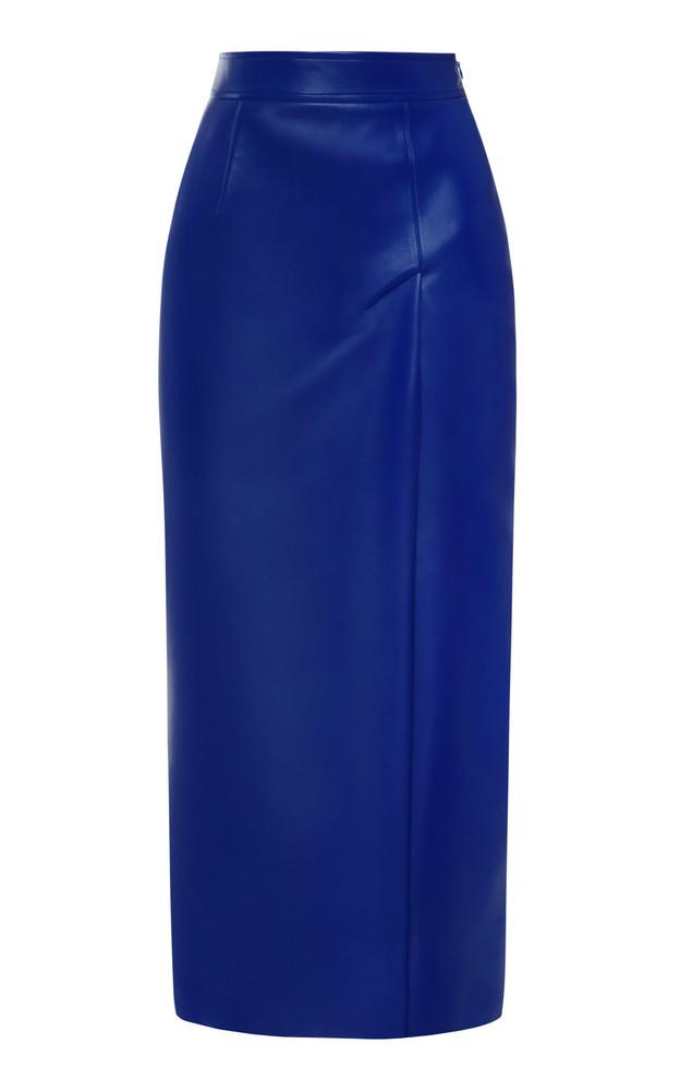 Aleksandre Akhalkatsishvili High-Rise Faux Leather Pencil Skirt in blue