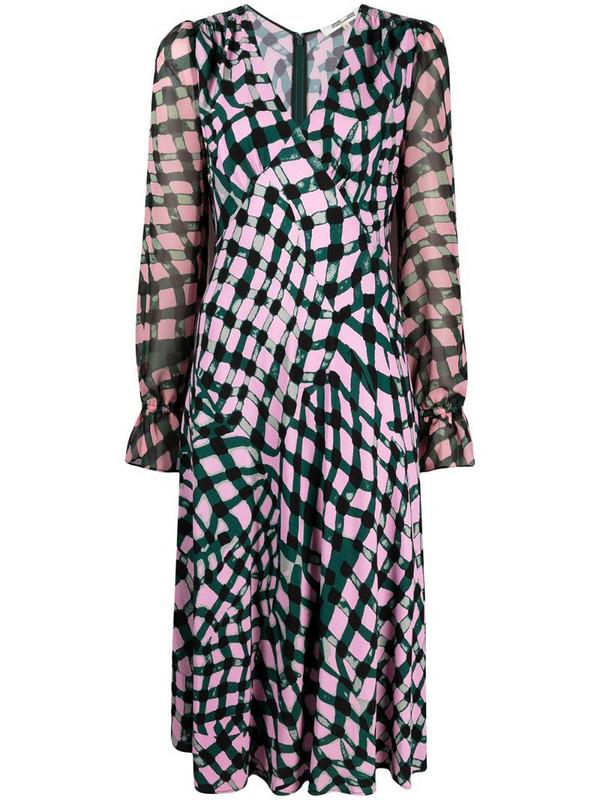 DVF Diane von Furstenberg geometric-print midi dress in pink