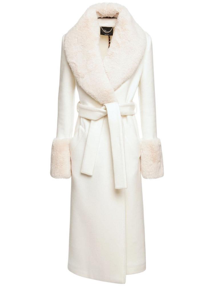 BLUMARINE Wool Blend Double Coat W/ Self-tie Belt in ivory