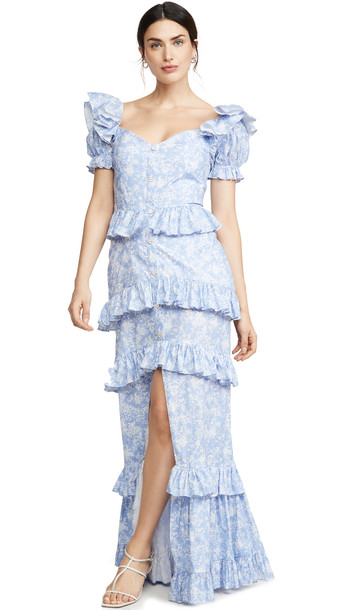 Caroline Constas Iva Gown in blue