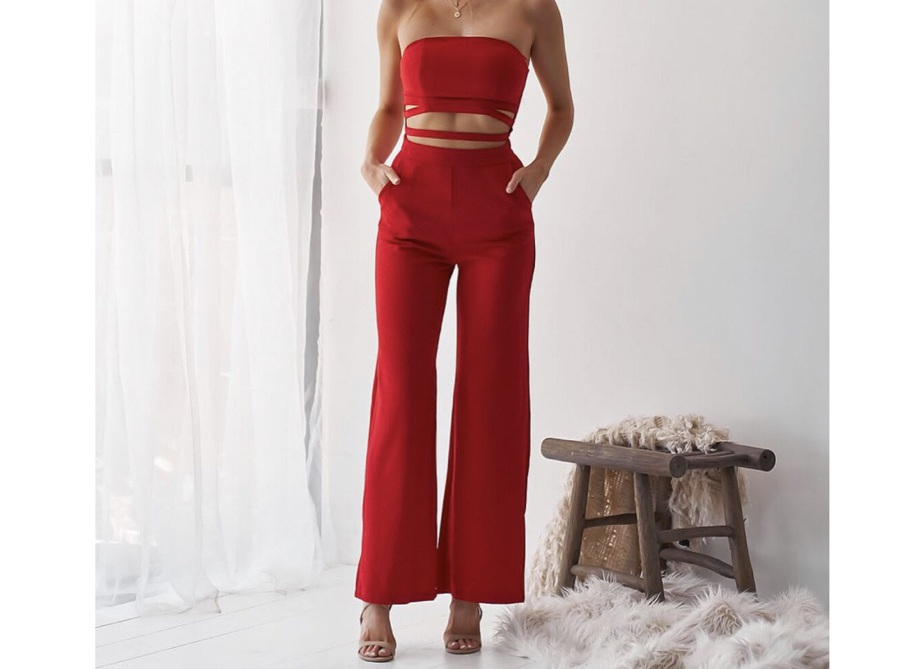 jumpsuit red two-piece strapless flare pants
