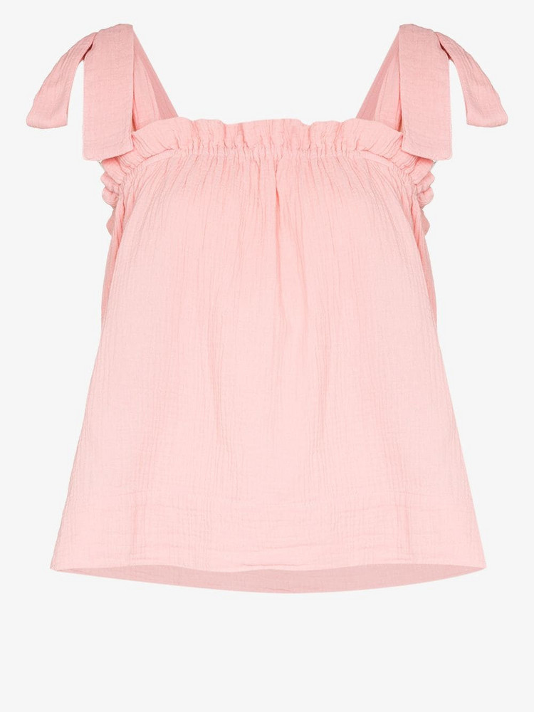 Honorine Goldie cotton shoulder tie top in pink