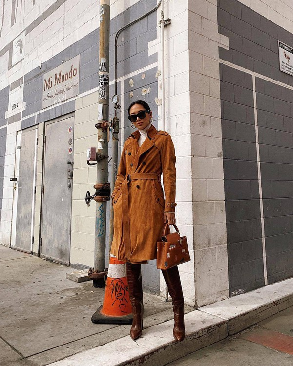shoes knee high boots leather boots heel boots brown bag brown coat trench coat suede white turtleneck top