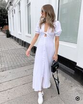 dress,midi dress,white dress,white sneakers,short sleeve dress,black bag