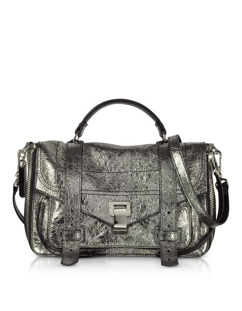 satchel zip metallic bag satchel bag leather silver