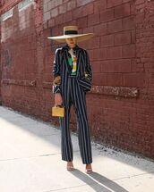 pants,striped pants,wide-leg pants,high waisted pants,blazer,shirt,white sandals,hat,handbag