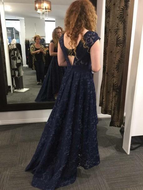 dress audrey hepburn navy v back dress