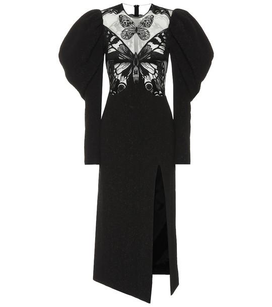 David Koma Cotton-cloque and mesh dress in black