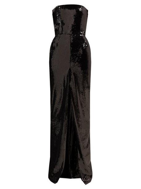 Alexandre Vauthier - Strapless Front Slit Sequinned Gown - Womens - Black