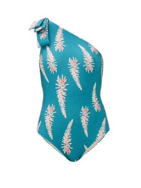 Adriana Degreas - Aloe Vera Floral Print One Shouldered Swimsuit - Womens - Blue Print