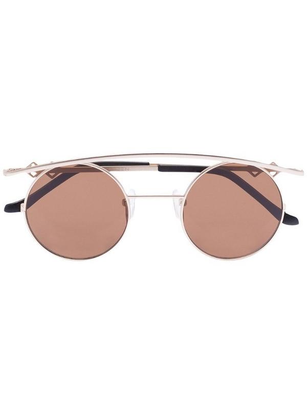 Karen Wazen round-frame sunglasses in gold