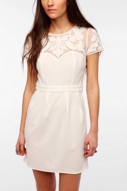 dress white dress graduation dress mesh cream dress