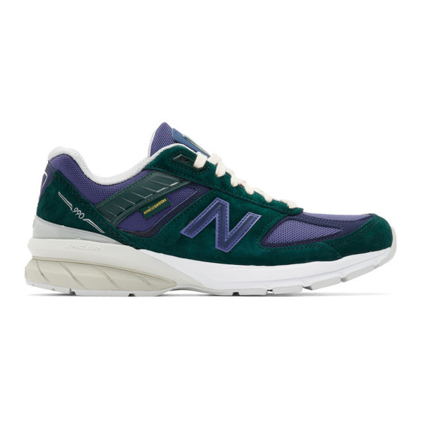 New Balance Blue and Green Aime Leon Dore Edition 990v5 Sneakers