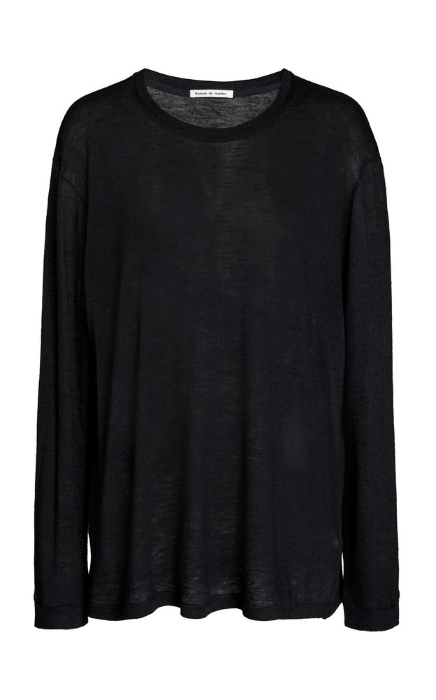 Frances de Lourdes Marlon Oversized Cashmere-Silk T-Shirt in black