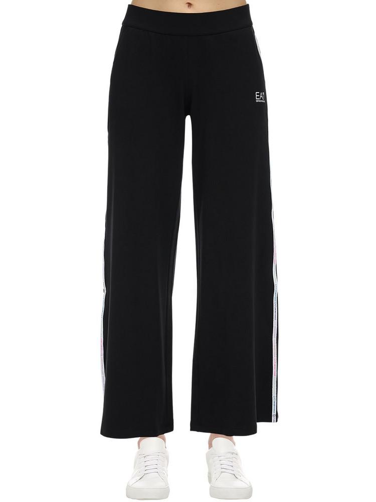 EA7 EMPORIO ARMANI Train Master Wide Leg Cotton Sweatpants in black