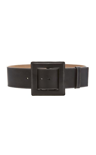 Carolina Herrera Large Square Buckle Leather Belt Size: S in black