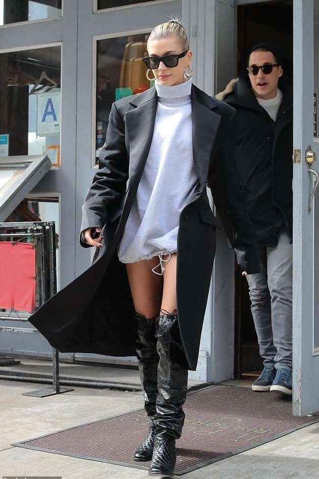 sunglasses grey grey sweater sweater dress hailey baldwin model off-duty boots coat