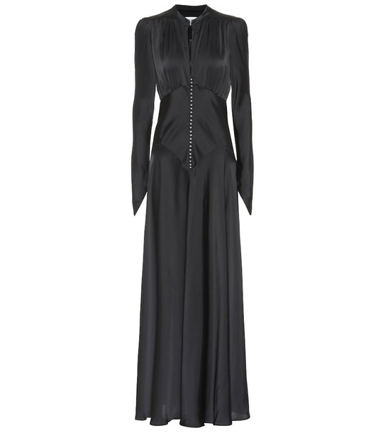 Paco Rabanne Satin maxi dress in black