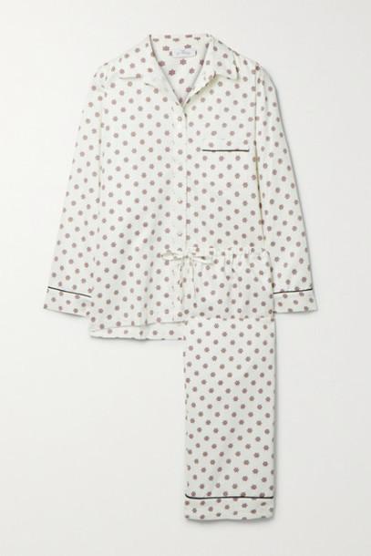 Pour Les Femmes - Piped Printed Cotton Pajama Set - White