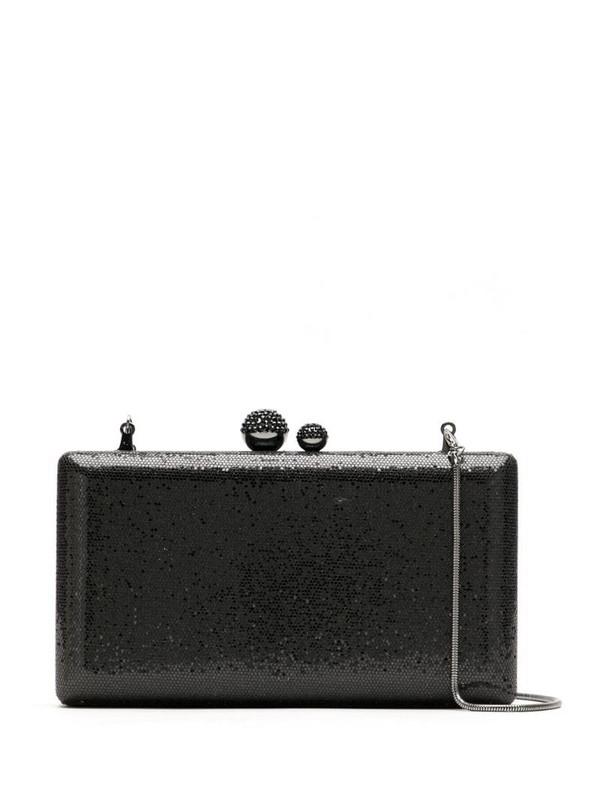 Isla glitter clutch bag in black
