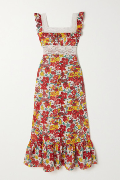 Loretta Caponi - Margherita Lace-trimmed Tiered Floral-print Cotton-voile Midi Dress in red