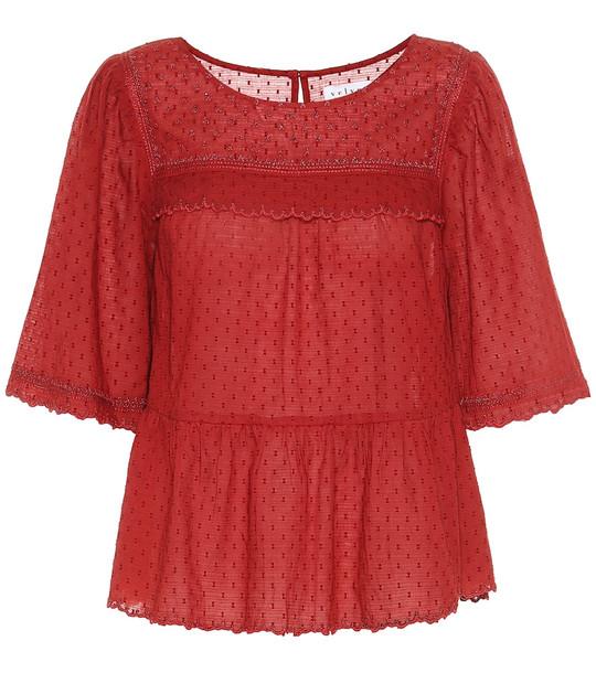 Velvet Raina cotton shirt in red