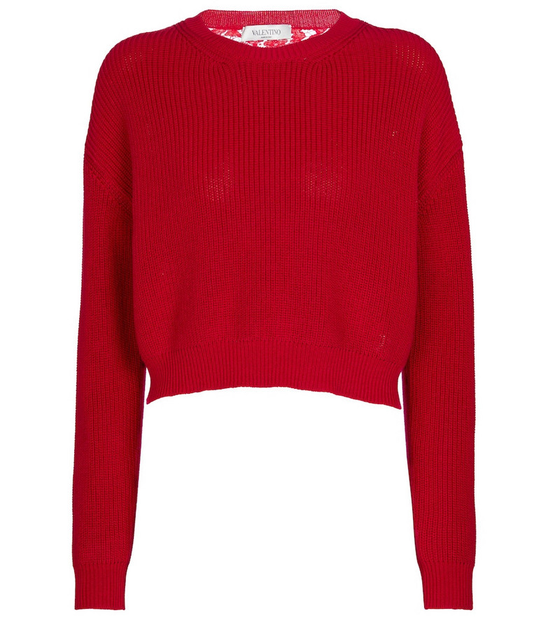 Valentino Lace and cotton sweater in red