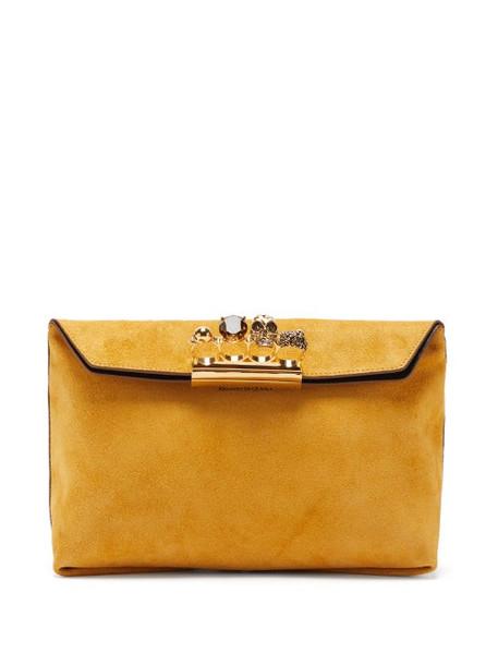 Alexander Mcqueen - Knuckle Crystal-embellished Suede Clutch Bag - Womens - Beige