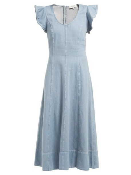 Sea - Stella Flared Denim Midi Dress - Womens - Denim