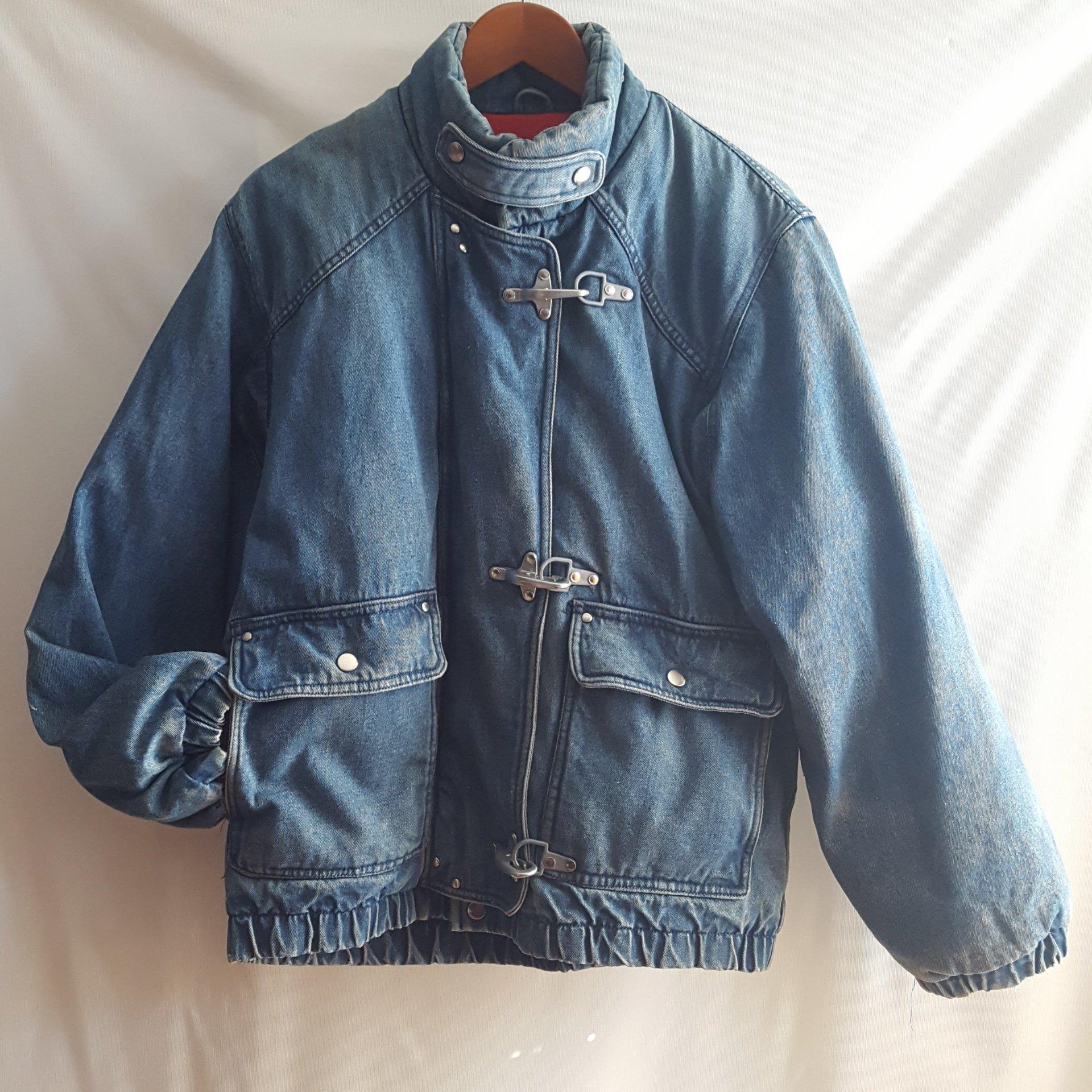 KRAZY KRINKLE By Saxton Hall Vintage Denim Down Bomber Jacket Size M