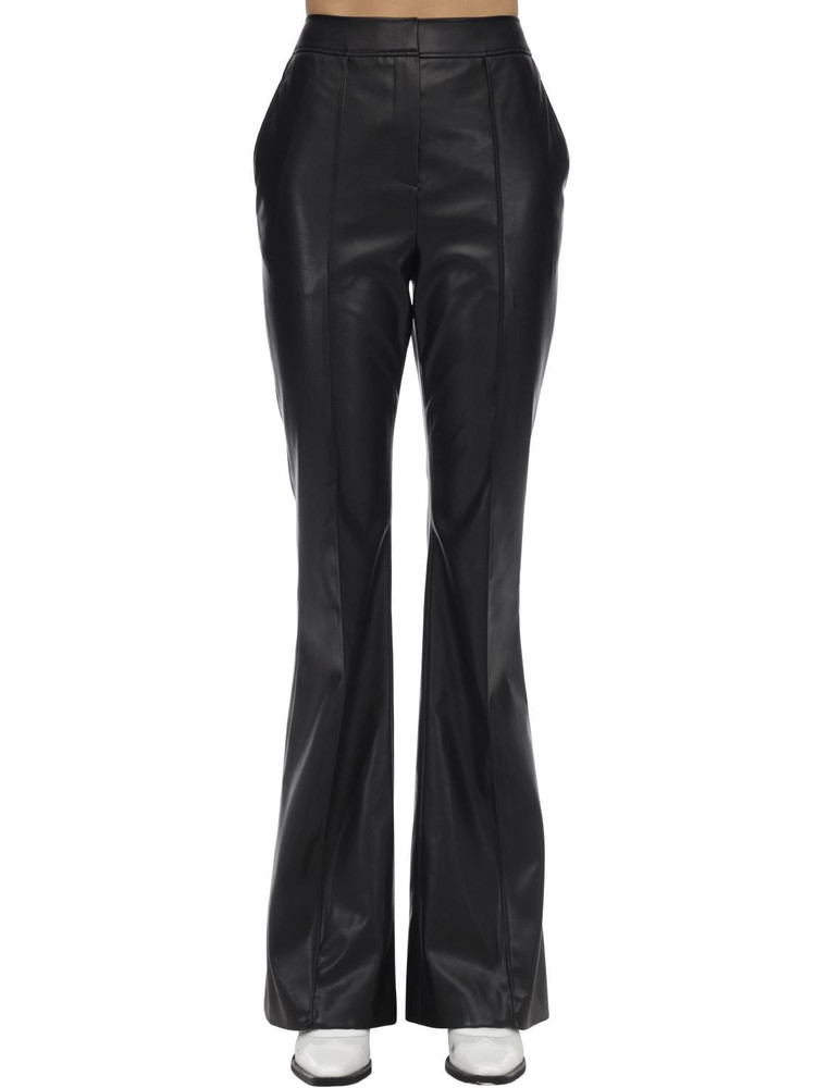 WE11 DONE Flared Faux Leather Pants in black