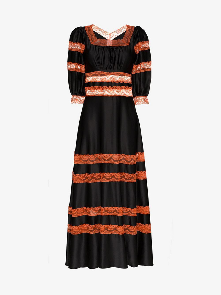 Shrimps cressida lace panel silk dress in black