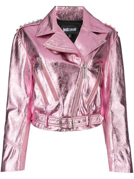 Just Cavalli metallic cropped biker jacket in pink