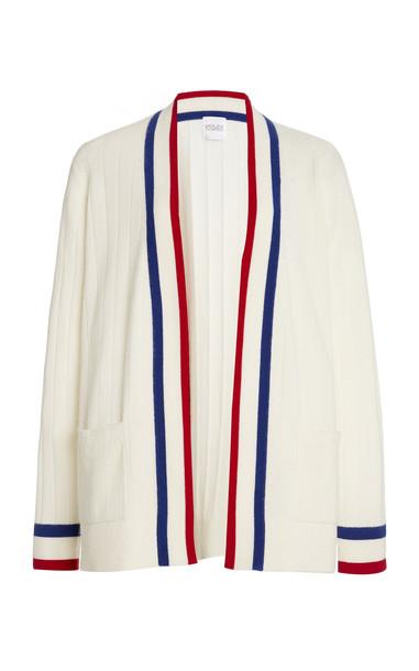 Madeleine Thompson Cashmere Knit Cardigan in white