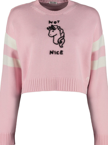 Miu Miu Wool Pullover With Contrasting Embroidery in pink
