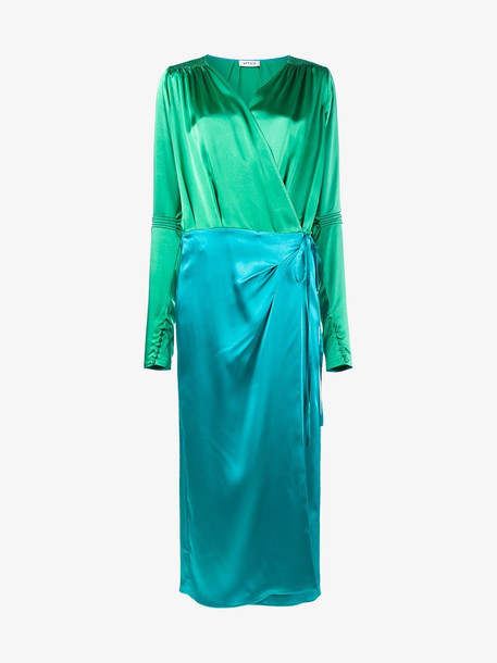Attico wrap-around satin dress in green