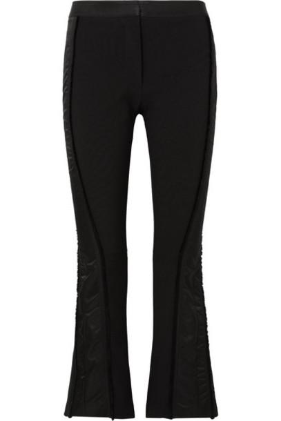 Mugler - Satin-trimmed Twill Flared Pants - Black