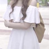dress,white dress,shoulderless dress,over the shoulder dress