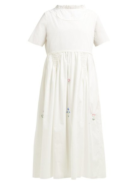 Horror Vacui - Fiorina Beaded Flower Cotton Midi Dress - Womens - White
