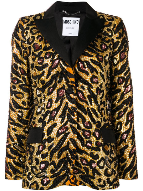 Moschino Tiger sequin-embellished blazer in gold