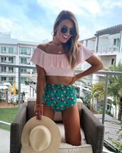 hat,swimwear two piece,stripes,off the shoulder,high waisted,sunglasses
