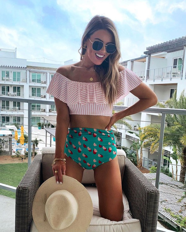 hat swimwear two piece stripes off the shoulder high waisted sunglasses